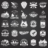 Set of canoe, kayak and camping club badge. On the chalkboard. Vector illustration. Concept for shirt, print, stamp or tee. Vintage typography design with Stock Photo