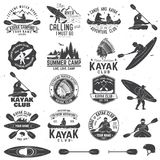 Set of canoe and kayak club badges. Vector illustration. Set of canoe and kayak club badges and design element. Vector. Concept for shirt, print, stamp or tee Stock Image