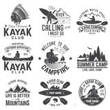 Set of canoe and kayak club badges. Vector illustration. stock illustration