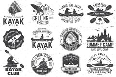 Set of canoe and kayak club badges. Vector illustration. Set of canoe and kayak club badges. Vector. Concept for shirt, print, stamp or tee. Vintage typography Stock Images