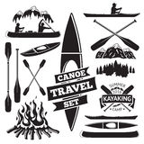 Set of canoe and kayak design elements. Two man in a canoe boat, man in a kayak, boats and oars, mountains, campfire, forest, label. Vector illustration Stock Photography