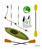 Set of Canoe or Kayak Equipment on White Background Royalty Free Stock Images