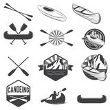 Set of canoeing labels and design elements Royalty Free Stock Photos