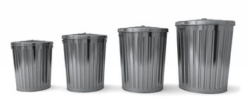 Set of cans. Four different sized trash cans isolated on a white background Stock Images