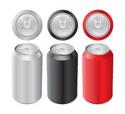 Set of cans. Set of different cans. No mesh Royalty Free Stock Image