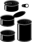 Set of cans - canned food. Isolated vector illustration black on white background Royalty Free Stock Images
