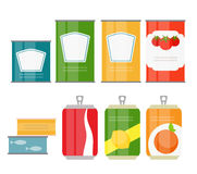 Set of Cans Template in Modern Flat Style Isolated on White. Mat Stock Photos