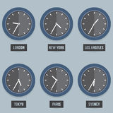 Set of Capital City Time's Clock Stock Images