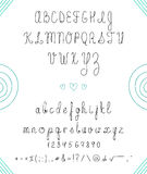 Set capital English handwriting font. Font handmade. Numbers Royalty Free Stock Image