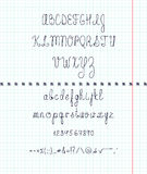 Set capital English handwriting font on paper. Font handmade Royalty Free Stock Photography