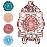 Set of capital letters into circle shape with different pattern Royalty Free Stock Photography