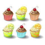 Set of capkakes. Hand draw. Chocolate and citrus capcake. Vector illustration Stock Photography