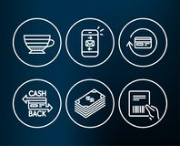 Cappuccino, Dollar and Mail icons. Refund commission, Cashback card and Parcel invoice signs. Stock Photo