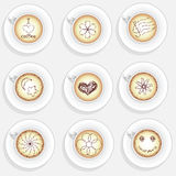 Set of cappuchino coffee cups. With dfferent decoration Top View Royalty Free Stock Images