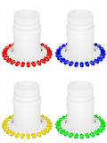 Set of capsule pills and white plastic bot Stock Image