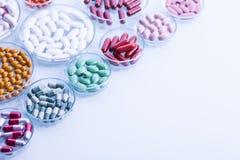 Set of capsules on white background Stock Image