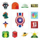 Set of captain america, agro, gryphon, black friday, mobile os a, 1 year warranty, travel, pinwheel, great dane icons. Set Of 13 simple  icons such as captain Stock Photo