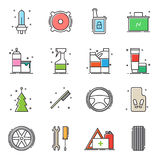 Set of car accessories icons. Vector illustration Stock Image