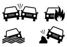 Set of car accident icons. Vector illustration vector illustration