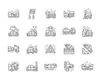 Set of Car Accidents Line Icons. Car Station, Evacuation, Traffic Jam and more. Set of Car Crash and Accidents Line Icons. Service Station, Side Collision, Tow vector illustration