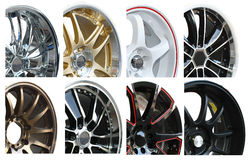 Set of Car alloy wheel. Isolated over white background Stock Images