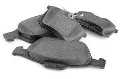 Set of car brake pads. On white Stock Photos