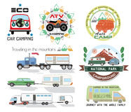 Set car camping logo and design elements Royalty Free Stock Photo