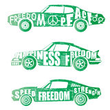 Set of car design. Set of machines green gradient design. logo. vector Stock Photo