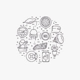 Set of car equipment. Cars complectation line icons set circular shaped. Automobile items. Thin line art design Stock Photo