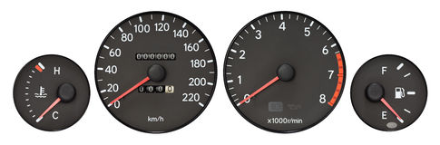 Set of car gauge. ( radiator temperature meter, speedometer, Tachometer, fuel meter stock image