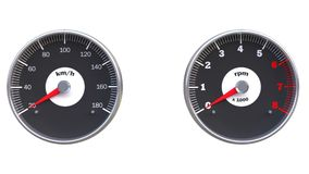 Set of car gauges. Including speedometer and tachometer Stock Photo