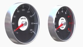 Set of car gauges. Including speedometer and tachometer Stock Image