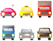 Set car, jeep and lorry. Set colorful transport objects - car, jeep and lorry Royalty Free Stock Images