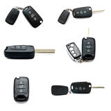 Set of car keys isolated. Set of a remote car keys isolated on a white background royalty free stock image