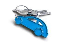 Set of car keys with keyring of blue car icon. Concept for owning a car or buying a car from a car dealer stock illustration