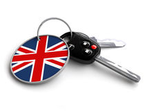 Set of car keys with keyring and country flag. Concept for car prices, buyer or selling a vehicle in United Kingdom. Vehicles made and produced in Britian royalty free illustration