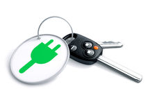 Set of car keys with keyring and electric power icon. Stock Images