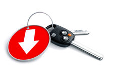 Set of car keys and keyring isolated on white with arrow on red. Background pointing down. Concept for loss in car sales or vehicle manufacturing industries royalty free illustration