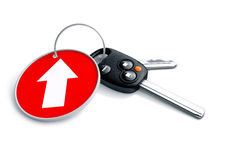 Set of car keys and keyring isolated on white with arrow on red. Background pointing upwards. Concept for growth of car sales or vehicle manufacturing royalty free illustration