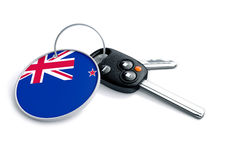 Set of car keys with keyring and New Zealand country flag. Set of car keys with keyring and country flag. Concept for car prices, buyer or selling a vehicle in royalty free stock photo