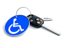 Set of car keys with keyring and a wheelchair icon on it. Concep. T for assisted driving and issues endured by handicapped persons when driving stock illustration