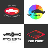 Set of car paint, car parts vector icon, symbol, sign, logo Stock Image