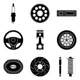 Set of car parts icons. Car equipment for maintenance work Stock Photos