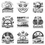 Set of car racing black monochrome emblems, labels, logos and championship race badges with descriptions of classic. Garage, drift club, world racing. vector Royalty Free Stock Images