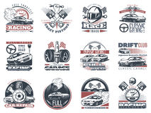 Set of car racing colored emblems, labels, logos and championship race badges with descriptions of classic garage, drift club, wor Stock Photo