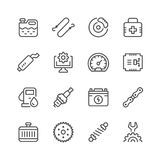 Set of car related line icons Royalty Free Stock Photo