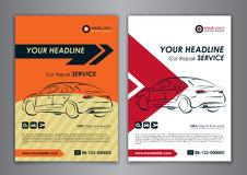 A5, A4 set car repair service business card templates. Auto repair shop business catalogue cover layout design. Vector illustration Stock Photos