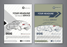 A5, A4 set car repair service business card templates. Auto repair shop business catalogue cover layout design. Vector illustration Royalty Free Stock Images