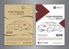 A5, A4 set car repair service business layout templates, automobile magazine cover.  Auto repair shop business catalogue cover. A5, A4 set car repair service Stock Photos