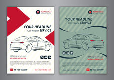 A5, A4 set car repair service business layout templates, automobile magazine cover. Stock Photo
